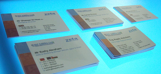Zeta business cards at Intersec